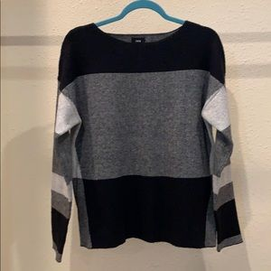 Black and grey scoopneck sweater